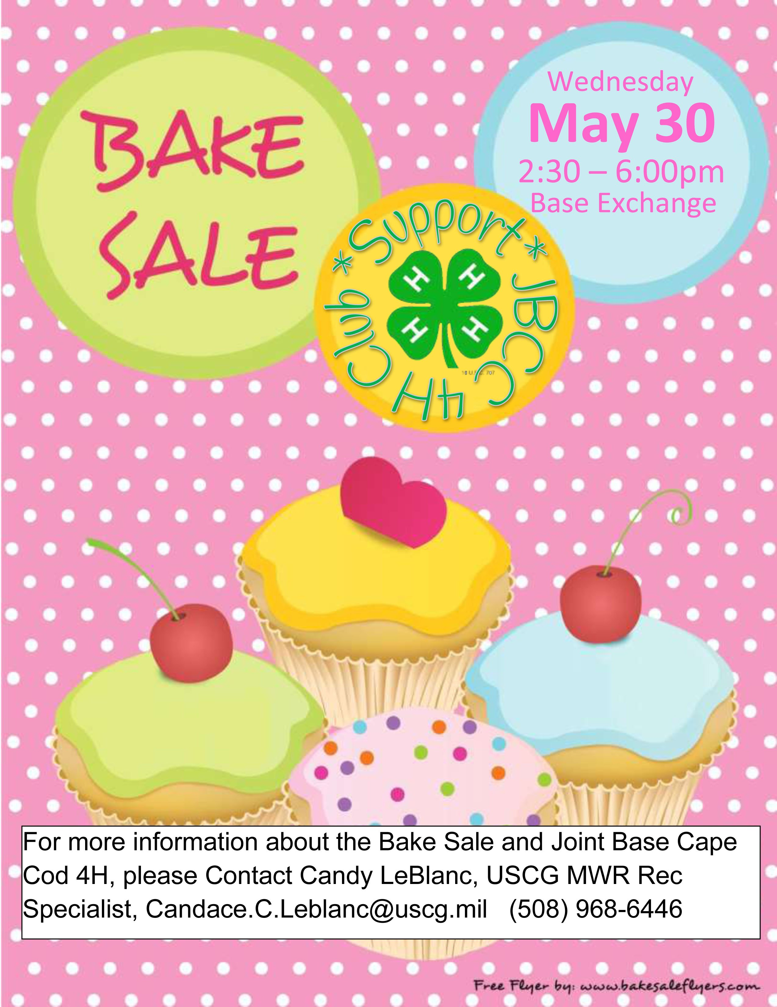 support 4h bake sale may 30 | uscg base cape cod mwr